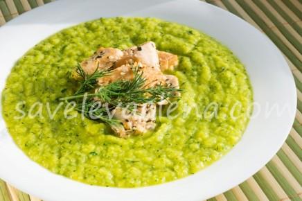 Суп-пюре из запеченного кабачка и тыквы