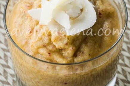 Яблочно-грушевое пюре с кокосовым молоком и семенами льна