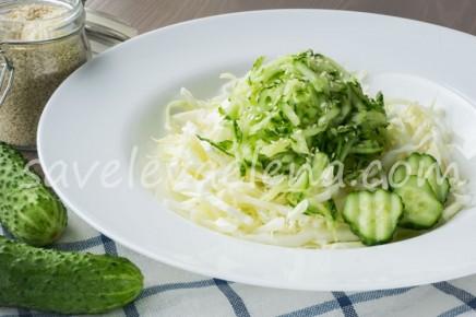 Капустный салат с огурцами